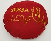 """Yoga cushion red round embroidered with YOGA, meditation pillow, 27 cm, 10.5"""", unique,"""