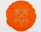 """Yoga meditation pillow with embroidery, orange with gold, D 30 cm, 12"""", round pillow, seat cushion, pillow,"""