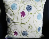 "Pillow cover 40 x 40 cm, 16"" x 16"", zippered pillow case, white, purple,"