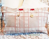 """Rustic country-style cushion cover, vintage, grey, white, durable, woven, plaid, buttoned, approx. 60 x 40 cm, 23.7"""" x 15.75"""","""