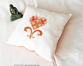 Yoga Pillow embroidered 40 x 40 cm, Cuddle Cushion Cotton,