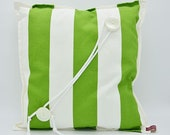 Pillow green white striped with drawstring embellishment, cuddle cushion, 40 x 40 cm, unique,
