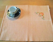 """Placeset, place cover by Linum, coaster, apricot, cotton, embroidered, 13x17"""", 43 x 33 cm, upcycled"""