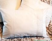"""White rectangular shabby pillow case, 40 x 60 cm, ca 23.5x16"""", parade cushion, hand crochet cotton lace, vintage white wash, unique,"""