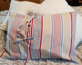 """striped cushion cover blue red beige, modern pillow case with ties, 60 x 40 cm, 23.6x15.7"""", durable cover, cotton"""