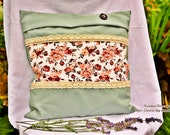 Green Patchwork pillow ca...