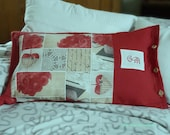 Country cushion with inner cushion, decorative pillow, 65 x 40 cm, red white with monogram, unique, gift
