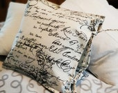 """modern pillow, closure for binding, 40 x 40 cm, 15.7x15.7"""", cushion cover motif lettering, pillow cover with ribbons, lettering, youth,"""