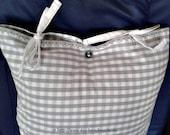 Pillowcase 65 x 40 cm, 25.6x15.7, Cotton, grey white plaid,