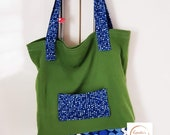 """eco-friendly tote bag 40 x 40 cm/15,8x15,8"""", green fabric bag with lining, zero waste,"""