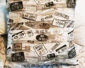 """Pillow cover - pillow cover, pillow with print number plates, 50 x 50 cm, 20x20"""", unique"""