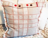 """Vintage pillow cover cotton with buttons, country style, rustic pillowcase, 50 x 50 cm, 19.6"""" x 19.6"""", grey plaid, woven, fringe"""
