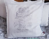 Cushion with inner cushion, pillow case with vintage lace, lavender oil print french print, pillow cover 50 x 50 cm,