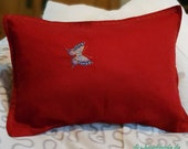 """red pillowcase with zipper, 60 x 40 cm, ca 23.75x15.75"""", cushion cover with decorative stitches, embroidered pillow, butterfly, unique,"""