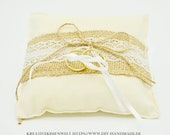 """cream-coloured ring pillow with jute and lace for wedding and wedding ceremony, 13 cm x 13 cm, 5"""" x 5"""", unique,"""