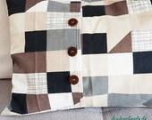 Country house pillow case, unique, plaid brown beige black, 65 x 40 cm, pillowcase, vintage buttons