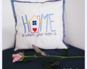 Embroidered white pillow ...