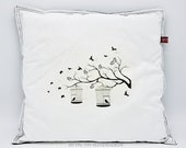 """Cuddle Cushions, 40 x 40 cm, 15.75x15.75, """"Cushions black and white with water transfer technology"""