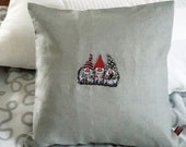 """Cushion with inner cushion, grey linen cushion with zipper, 40 x 40 cm, 16"""" x 16"""", unique, embroidered gnome"""