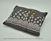 """Dark grey Ring Cushion, Viscose with Lace, about 18 x 14 cm, 7x5.5, """""""