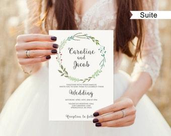 Garden Wedding Invitation Printable, Wedding Invitation Suite Template, Invitation Set, #A003B, Editable PDF - you personalize at home.