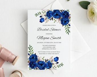 royal blue bridal shower invitation boho chic bridal shower invite watercolour bridal shower invite instant download editable pdf a016