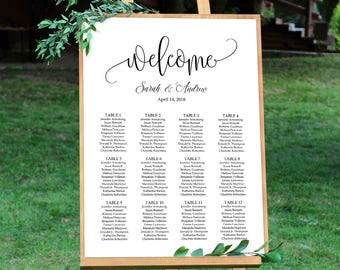 Wedding Seating Chart Sign, Calligraphy Wedding Table Plan, Seating Board, Seating Plan Template, #A030, INSTANT DOWNLOAD, Editable PDF