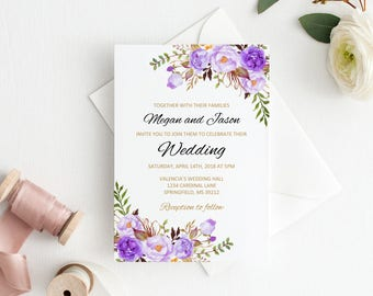 purple wedding invitation template etsy