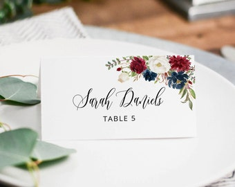 #A121 Printable Place Card Templett Burgundy Navy White Wedding Place Card Template Red Blue White Wedding Place Cards Seating Cards