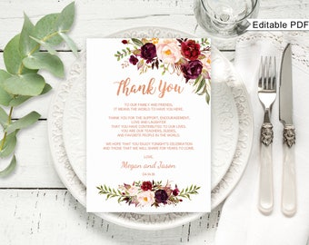 thanks place cards favor printable black and white diy elegant smart classic wedding reception thank you cards instant download poem