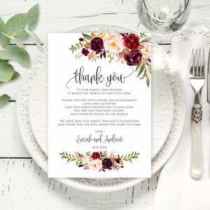 marsala thank you floral boho placement card placement cards thank you place card Boho wedding boho thank you cards boho place cards
