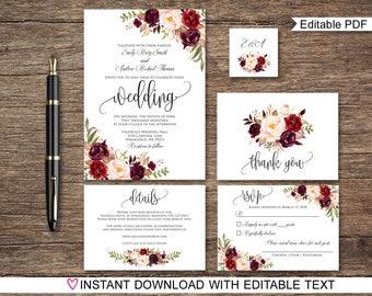 Wedding invitation kits etsy in wedding invitation template floral wedding invitation suite boho chic wedding set burgundy wedding a047 instant download editable pdf junglespirit Gallery