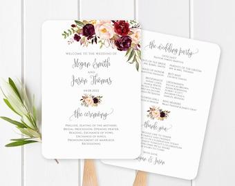 Wedding Program Fan Template, Wedding Fans, Wedding Ceremony Program Printable, Burgundy Wedding Program, Marsala, Templett, #A047
