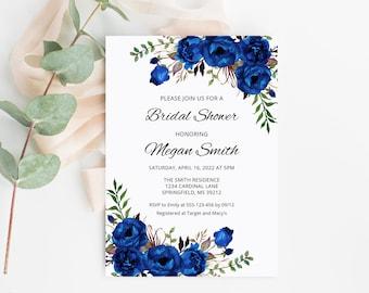 Dusty Blue Wedding Invitation #B96 Dusty Blue and Baby/'s Breath Wedding Invitation Template Floral Wedding Invitation Templett