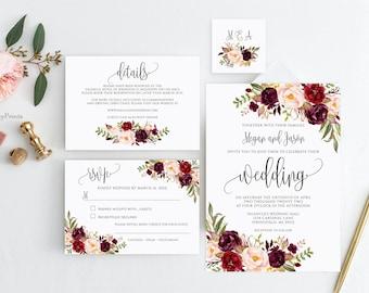 Wedding Invitation Template, Burgundy Wedding Invitation Suite, Boho Chic Wedding Set, Marsala Wedding Invitation, Templett, #A047