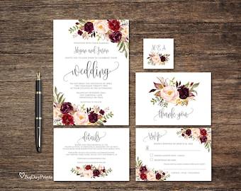 Burgundy Wedding Invitation Template, Floral Wedding Invitation Suite, Boho Chic Wedding Set, Marsala Wedding Invitation, Templett, #A047
