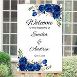 Welcome Wedding Sign, Printable Wedding Reception Sign, Royal Blue Welcome Wedding Sign, Template, #A016, INSTANT DOWNLOAD, Editable PDF