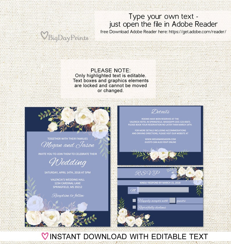 Floral Wedding Set Navy and White Flowers Navy Wedding Invitation Template A051-C Instant Download Editable PDF Wedding Invitation Suite