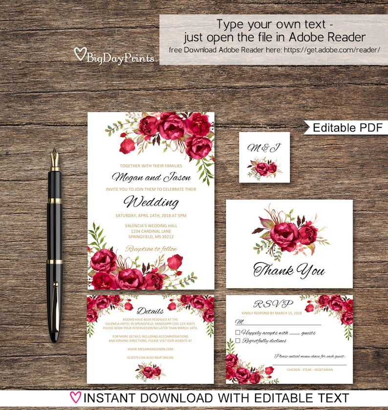 Wedding Invitation Template.Red Wedding Invitation Template Boho Chic Wedding Invitation Suite Floral Wedding Set A015a Instant Download Editable Pdf