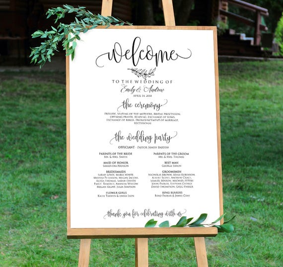 wedding program sign ceremony program sign welcome wedding etsy