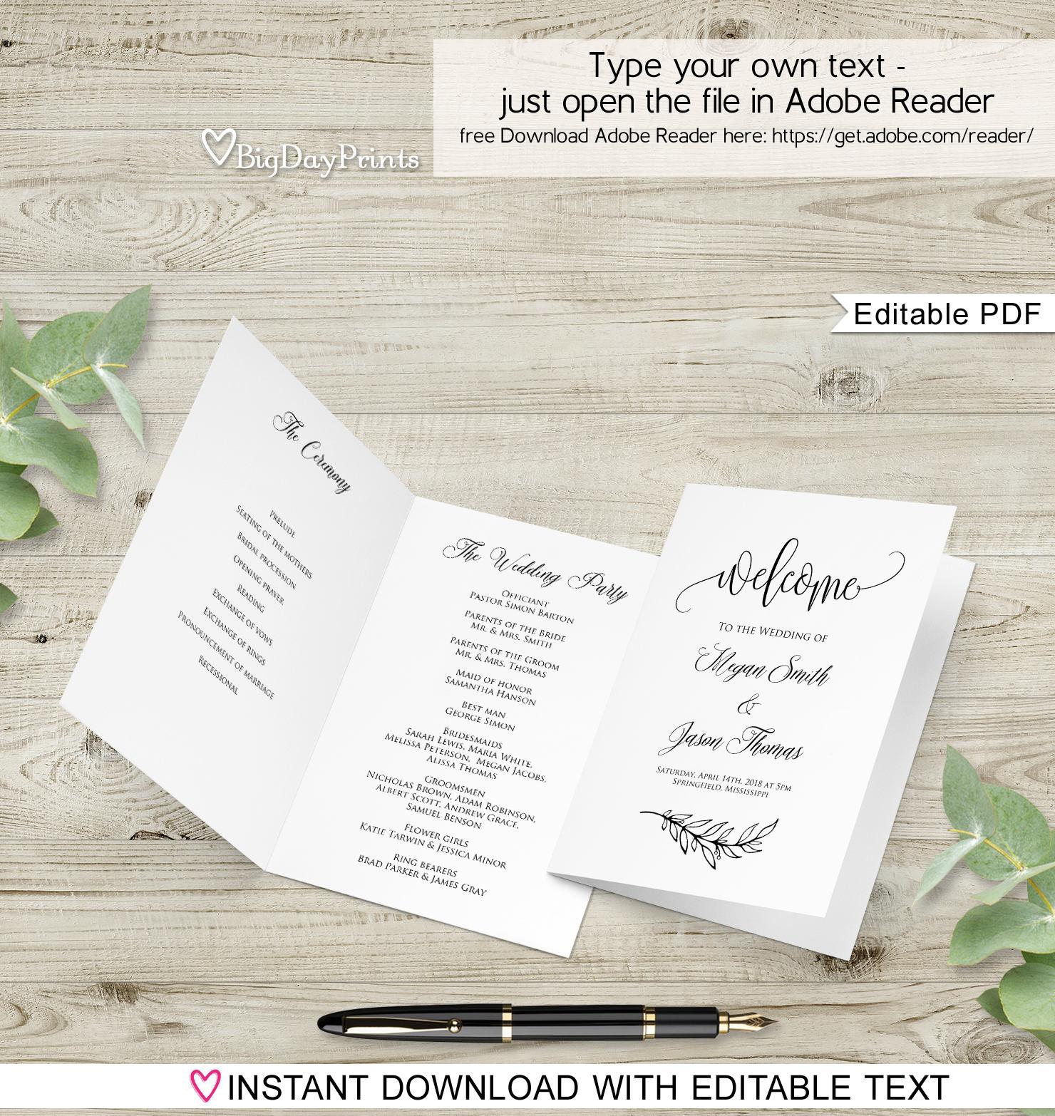 Folded Wedding Program Template Ceremony Program Printable Etsy