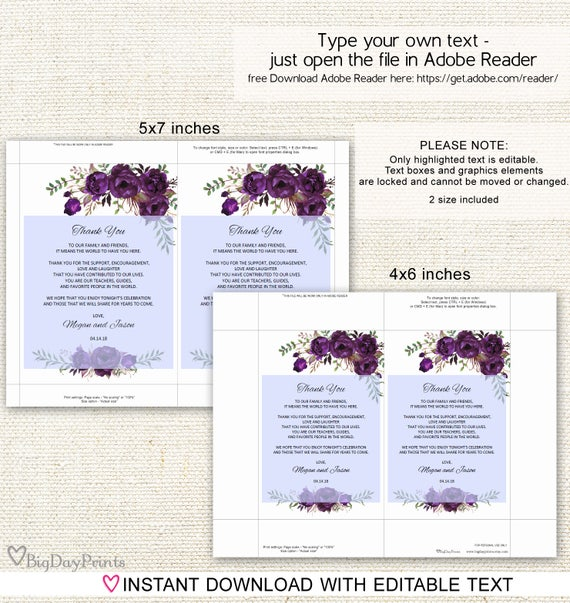 #A016 Wedding Table Thank You Editable PDF Blue Flowers Thank You Place Setting Floral Wedding Thank You Place Card