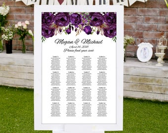 Wedding Seating Chart Template, Boho Chic Floral Wedding Table Plan, Eggplant Seating Plan, #A039, INSTANT DOWNLOAD, Editable PDF