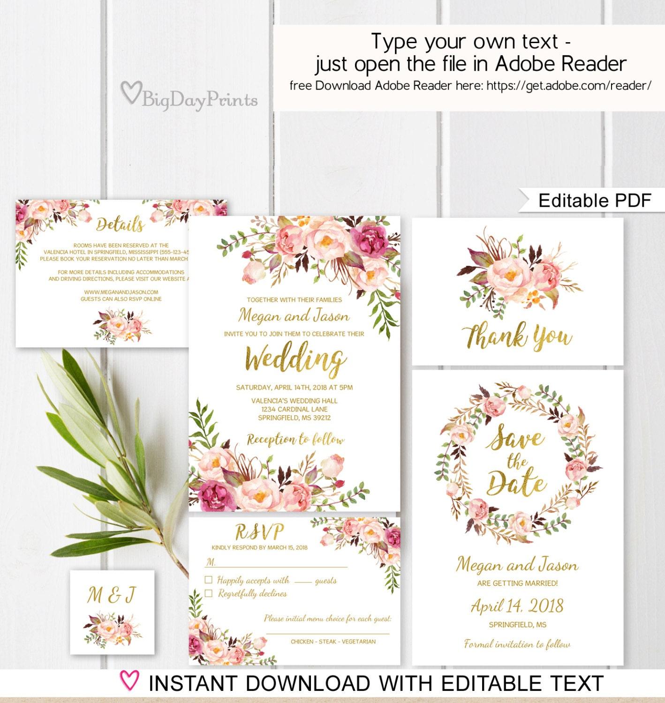 50: Floral Wedding Invitation Template Hd At Reisefeber.org