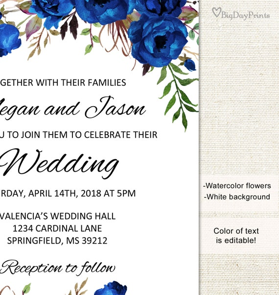 Blue Wedding Invitation Template Boho Chic Wedding Invitation Suite Floral Wedding Set A016a Editable Pdf You Personalize At Home