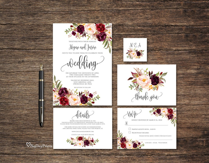 Burgundy Wedding Invitation Template Floral Wedding image 0