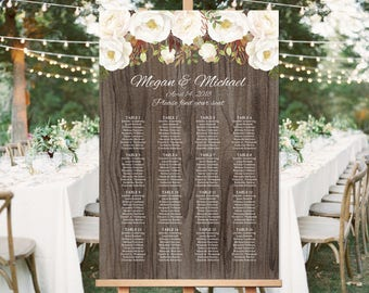Rustic Wedding Seating Chart Template, Boho Chic Floral Wedding Table Plan,  Seating Board, Plan, #A052, INSTANT DOWNLOAD, Editable PDF
