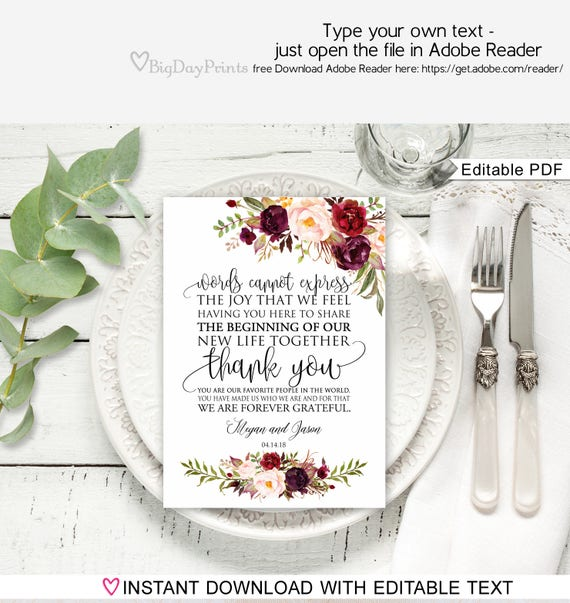 floral wedding thank you place card wedding table thank you etsy