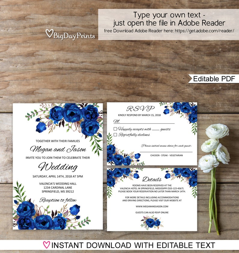 Blue Wedding Invitation Template Royal Blue Wedding Etsy