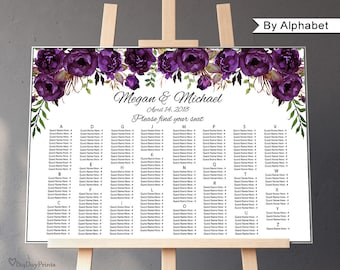 Eggplant Wedding Seating Chart Template, By Alphabet, Boho Chic Wedding Table Plan, Landscape, #A039, INSTANT DOWNLOAD, Editable PDF
